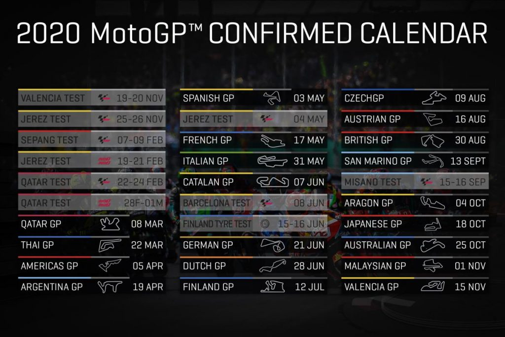 2020 Motogp Calendar Confirmed Motor Sports Travel